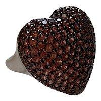 Pavé Spessartine Garnet Large heart ring