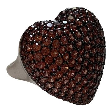 Pavé Spessartine Garnet Large heart ring
