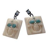 Aquamarine, Turquoise carved bone skull earrings