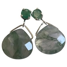 Emerald 1 CTW and Moss Agate drop earrings