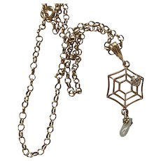 Antique Victorian 14K spider web diamond pearl