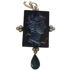 Antique Victorian Black Onyx Medusa Pendant RARE