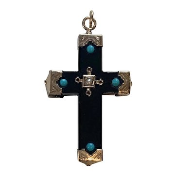 Victorian Whitby Jet cross 10K gold