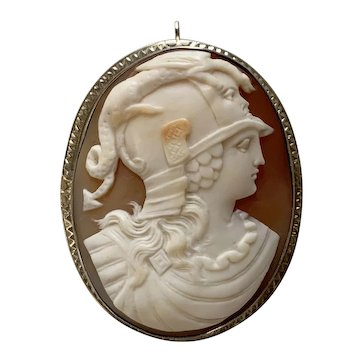 Large 10K white gold Cameo Athena