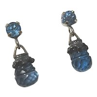 Carved London Blue Topaz drops/14K white gold/RARE