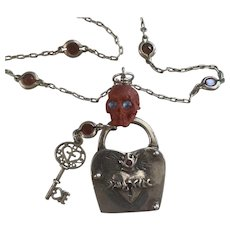 Sterling Silver, Coral Skull, Burning heart lock and Key