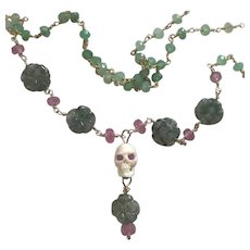 Pink Sapphire, Bovine Skull, Moss Agate necklace