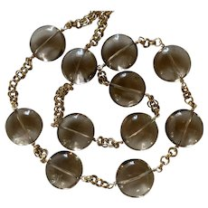 Huge Smoky Quartz and chain necklace