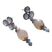 Blue, White Chalcedony, Jade earrings