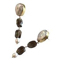 Large Cultured Baroque Pearl Smokey Quartz drop earrings
