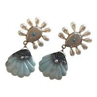 Large Amazonite Cultured Pearl Earrings