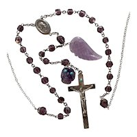 Wing and a Prayer, Skull, Amethyst Rosary necklace