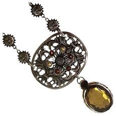 Huge Citrine, Sunflower, Suns and Garnet sterling necklace