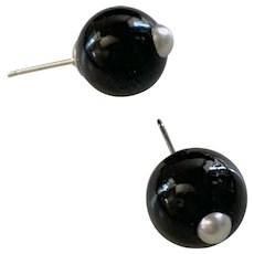 Large Natural Black Onyx AAA Cultured Pearl Studs
