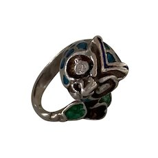 Sterling Silver Enamel Owl ring diamond eyes