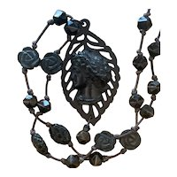 Vulcanite Mourning Cameo leather cord necklace