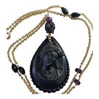 Vulcanite Mourning Cameo 18K gold filled gemstone chain