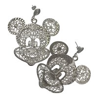 Extra Large RARE Sterling Filigree Mickey Mouse Earrings