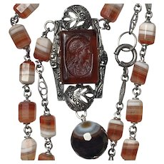 Art Deco German carved Athena and banded agate necklace