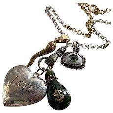 Locket, Horn, Jade Charm necklace