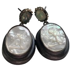 Carved MOP Raphael's Angel and Opal Earrings