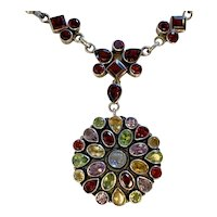 Moonstone, Garnet Multi Gemstone Sterling necklace