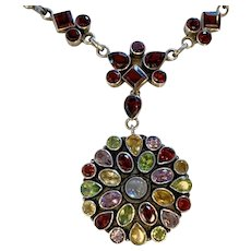 Moonstone, Garnet Multi Gemstone Sterling necklace