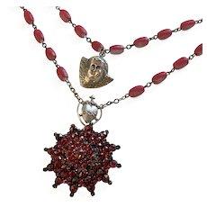 Bohemian Garnet, Rose Petal, Angel, Heart, Sterling necklace