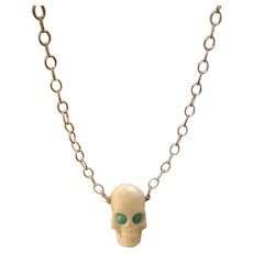 Skull, Persian Turquoise, Sterling chain