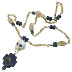 Lapis, Sapphire, Citrine Skull 18K GF necklace