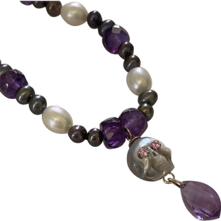 African Amethysts, AAA cultured South Sea Pearl skull necklace
