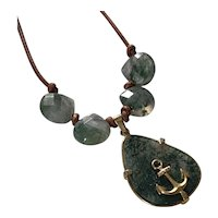 Natural Moss Agate GF Anchor leather necklace