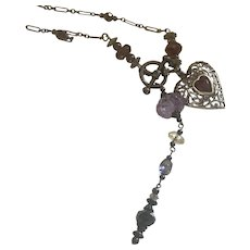 Sterling Silver Multi Gemstone toggle necklace