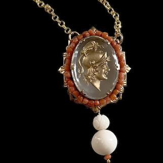 Victorian Crystal reverse Intaglio Athena natural coral necklace