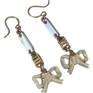 Antique Victorian 10K gold carved MOP earrings