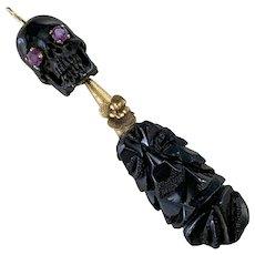 Whitby Jet, Horn Skull amethyst pendant