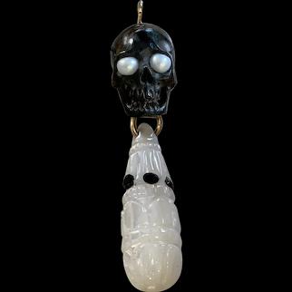 Black Horn Skull, Black Onyx, Cultured Pearl carved MOP Pendant