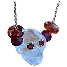 Rock Crystal Skull Garnet sterling necklace