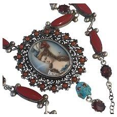 Sterling signed Portrait Marie Antoinette Turquoise skull Garnet Coral