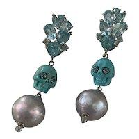 Apatite, 14k WG, Silver, Turquoise Skull,14mm cultured Pearl Earrings