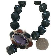 Rare XLarge Celtic Bloodstone bead necklace