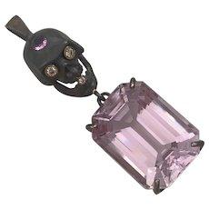Over 47 carat Natural Kunzite diamond sapphire pendant