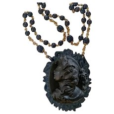 Victorian Mourning Pressed Horn cameo GF ebony rosary chain