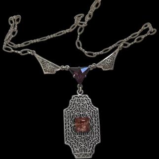 "Antique Edwardian Sterling lavalier necklace 15.25"""