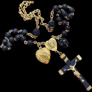 Ebony, Horn skull, Sapphire, GF charm rosary necklace