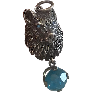 Sterling Silver Wolf Pendant/Blue Diamonds/Large Apatite