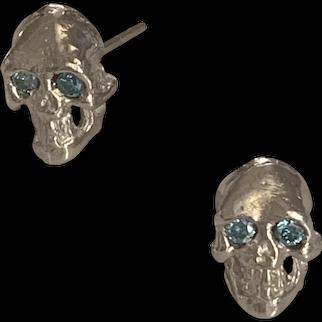 14K white gold Skulls blue diamonds