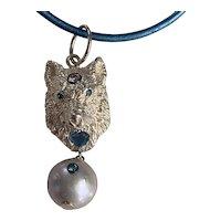 14K white gold Wolf: Natural Aquamarine heart, blue and white diamonds