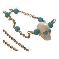 Natural Sleeping Beauty Turquoise Skull 14kGF
