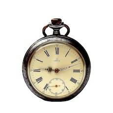 Vintage OMEGA Pocket Watch Swiss Open Face  Art Deco Case Blue Steel 1910c 51mm Dial Porcelain Working